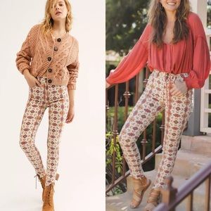 New Free People High Rise Skinny Jeans Aztec Boho Print Size 29